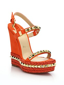 Christian Louboutin - Suede & Leather Platform Wedge Sandals