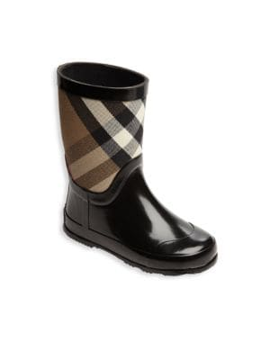 Toddler's Rubber & Check Cotton Rain Boots