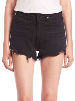 Denim X Alexander Wang Bite High-Rise Frayed Shorts