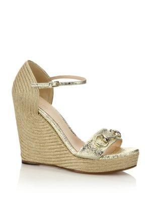 Carolina Metallic Leather Corded Wedge Sandals