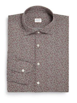 Regular-Fit Floral Cotton Dress Shirt