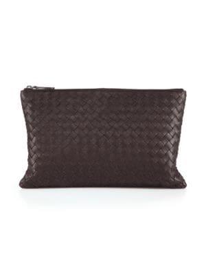 Intrecciato Leather Zip Pouch