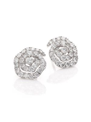Lorelei Diamond & 18K White Gold Floral Stud Earrings