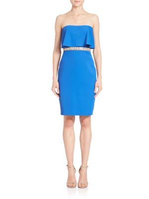 Beaded-Waist Strapless Popover Dress