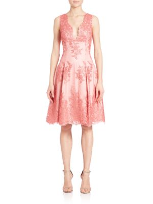 Sleeveless Lace Fit & Flare Dress