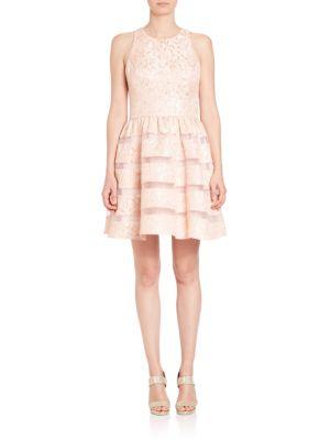 Jacquard Illusion Stripe Party Dress