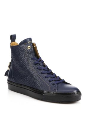 Alfa High-Top Leather Sneakers