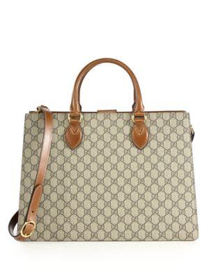 gucci female gg supreme large tophandle bag
