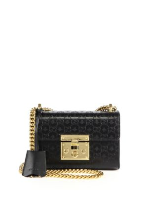 gucci female 224337 padlock gg small leather shoulder bag