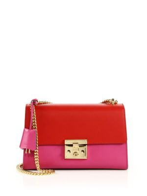 gucci female  padlock medium leather shoulder bag