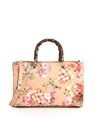 gucci female bamboo shopper blooms leather tote