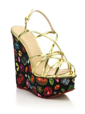charlotte olympia female  elizabeth metallic leather jewelprint wedge sandals