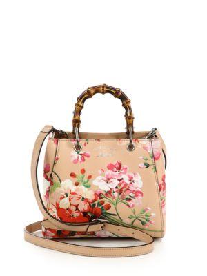 gucci female bamboo shopper mini blooms bag