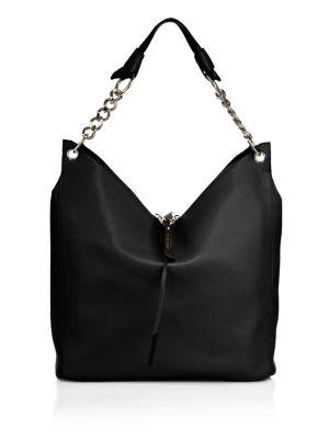 jimmy choo female 188971 raven nappa leather hobo bag