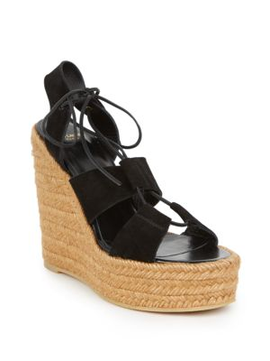 saint laurent female 188971 suede laceup espadrille platform wedge sandals