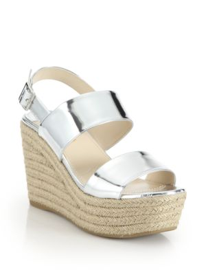 prada female 45900 patent metallic leather espadrille wedge sandals