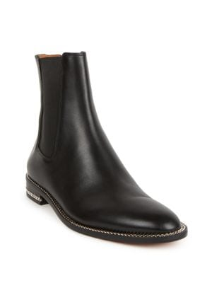 Leather Chain-Trimmed Chelsea Boots