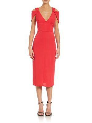 Triangle Sleeve V-Neck Midi Dress