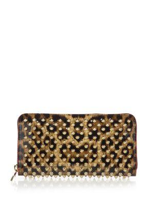 Panettone Spiked Leopard-Print Zip-Around Wallet