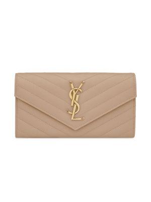 Saint Laurent Monogram Textured Matelassé Leather Flap Continental Wallet by Saint Laurent