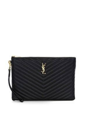 MONOGRAM YSL QUILTED LEATHER TABLET POUCH BAG