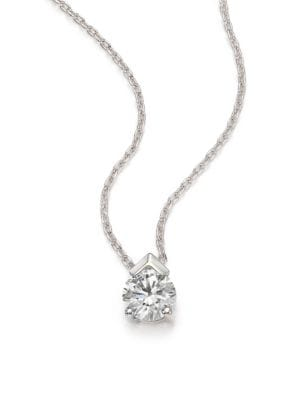 Aerial Diamond & 18K White Gold Teardrop Pendant Necklace