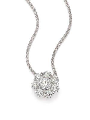 Beloved Diamond & 18K White Gold Floral Pendant Necklace