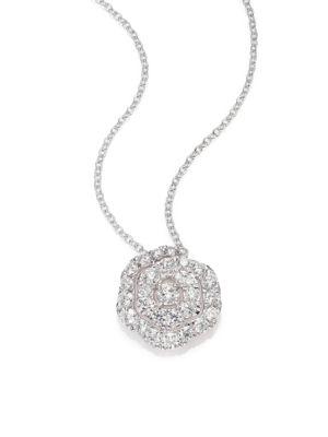 Lorelei Diamond & 18K White Gold Floral Pendant Necklace