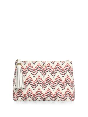 Zig-Zag Cotton & Leather Pouch by Melissa Odabash