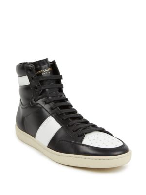 Colorblock Leather High-Top Sneakers