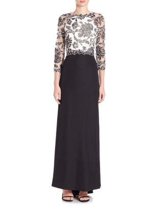 Three-Quarter Sleeve Lace and Crepe Gown