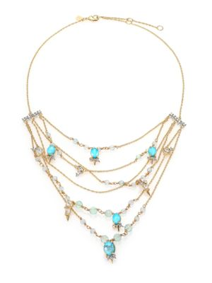 Elements Crystal, Howlite & Fluorite Spike Accented Multi-Strand Necklace