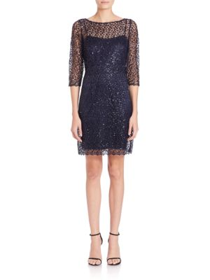 Sequined Crochet Sheath Dress