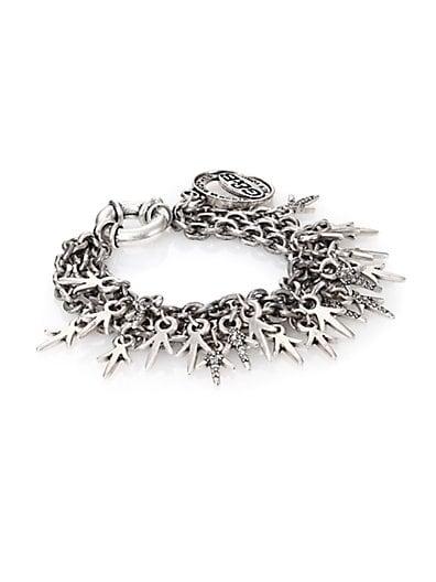 Three-Chain Crystal Charm Bracelet