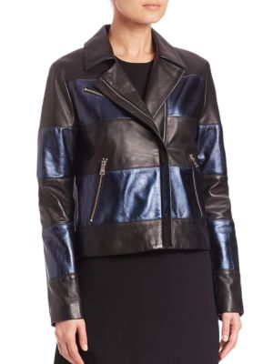 Two-Tone Metallic Leather Jacket