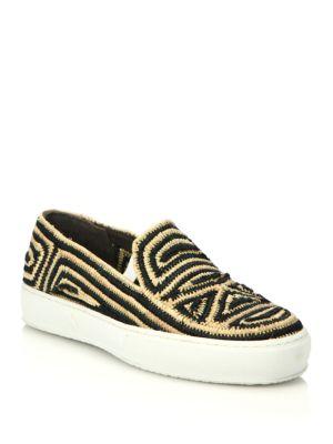 Tribal Raffia Slip-On Sneakers