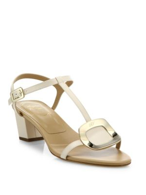 Chips Leather T-Strap Sandals