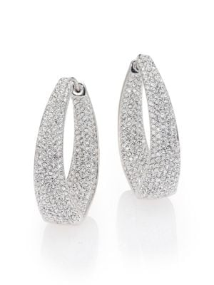 Crystal Pavé Twist Hoop Earrings/1.25