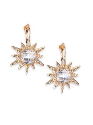 Aztec White Topaz & 14K Yellow Gold Starburst Earrings