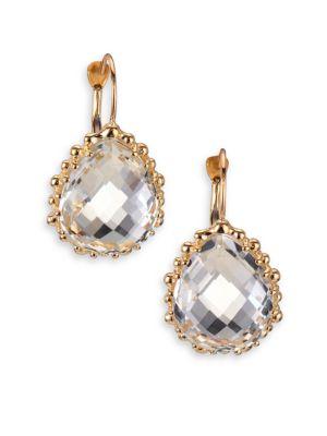 Dew Drop White Topaz & 14K Yellow Gold Pear Earrings