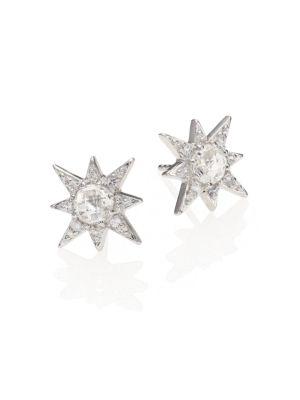 Aztec Star White Topaz & White Sapphire Stud Earrings