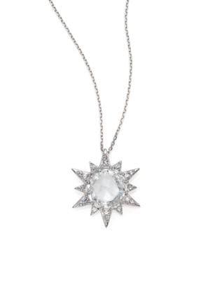 Aztec White Topaz, White Sapphire & Sterling Silver Starburst Pendant Necklace