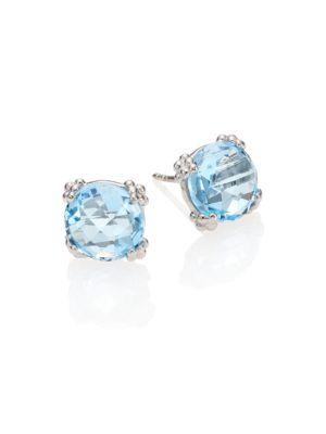 Dew Drop Sky Blue Topaz & Sterling Silver Stud Earrings
