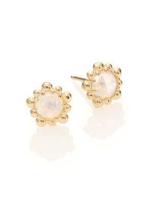 Dew Drop Moonstone & 14K Yellow Gold Stud Earrings