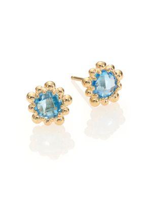 Dew Drop Swiss Blue Topaz & 14K Yellow Gold Stud Earrings
