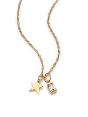 White Sapphire Baguette & Mini Star Charm Necklace