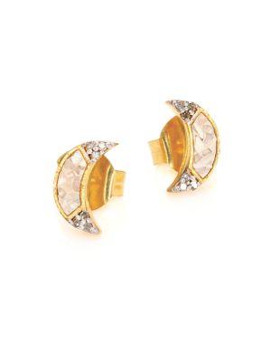 Banjara Champagne Diamond Noorpur Crescent Studs