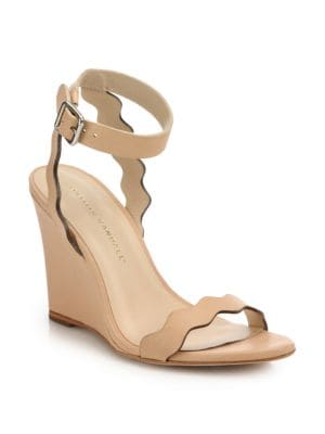 loeffler randall female 45985 piper scallop leather wedge sandals