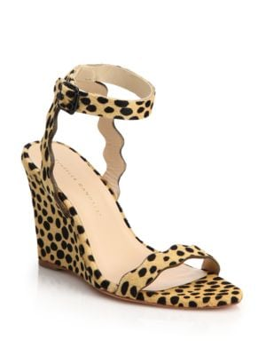 loeffler randall female  piper cheetahprint calf hair scallop wedge sandals