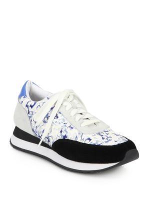 Rio Mixed-Media Floral-Print Sneakers
